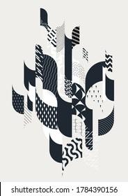 Abstract monochrome elegant geometric composition.