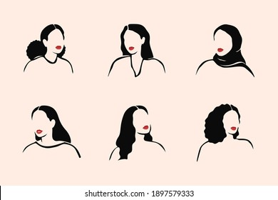 Abstract monochrome females no face with red lips portraits in linear style. Strong women of different ethnicities and cultures. Vector illustration