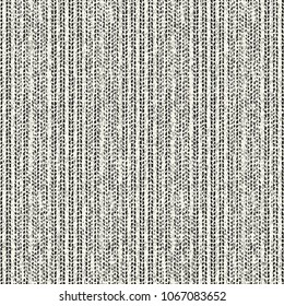 Abstract Monochrome Folk Dashed Stoke Washed Effect Textured Background. Seamless Pattern.