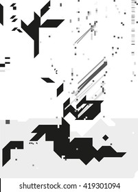 Abstract monochrome geometric composition. Contrast cybernetic backdrop with a sharp elements. Modern digital shapes. Background template for a poster, cover, annual report, invitation or postcard.