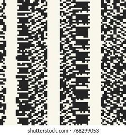 Abstract Monochrome Glitch Graphic Motif Striped Discrete Background. Seamless Pattern.