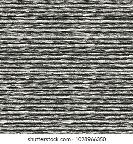 Abstract Monochrome Grain Stroke Melange Effect Textured Background. Seamless Pattern.
