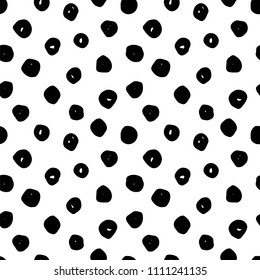 Abstract monochrome hand drawn ink black and white seamless pattern. Brush doodle vector repeated illustration for paper, textile, greeting card, print design