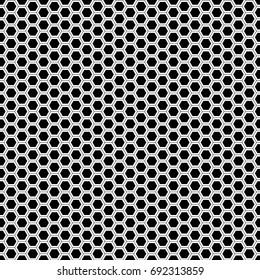 Abstract monochrome hexagon mesh pattern seamless background vector illustration.