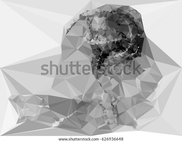 Abstract monochrome mosaic backdrop. Geometric low polygonal background. Design element for posters, business cards, presentations layouts, showcases. Vector clip art.