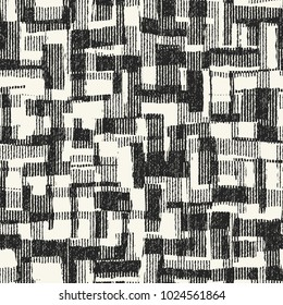 Abstract Monochrome Patchwork Graphic Motif Brushed Textured Background. Seamless Pattern.