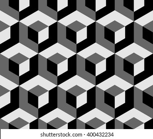 Abstract monochrome pattern with overlapping squares. Seamless 3d pattern. Grayscale, black and white background