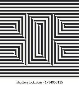 Abstract monochrome seamless pattern. Optical illusion. Black and white stripes letter X. Vector illustration.