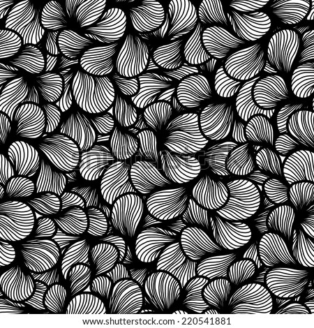 abstract monochrome sketch foliage petals seamless pattern. hair pattern.  wave hand-drawn vector pattern. surface texture. vector background