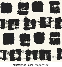 Abstract Monochrome Stain Checked Graphic Motif. Seamless Pattern.
