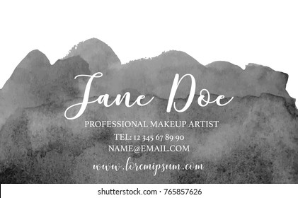 Abstract monochrome watercolor business card. Black, gray hand drawn stain, professional makeup artist template conceptual vector illustration.