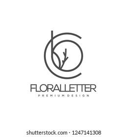 Abstract monogram elegant flower and floral logo icon vector design. Universal creative premium letter CB, BC initials floral signature symbol. Graceful vector sign.