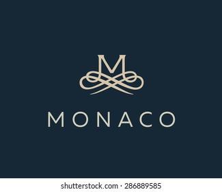 Abstract monogram elegant flower logo icon vector design. Universal creative premium letter M initials ornate signature symbol. Graceful vector sign.