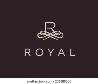 Abstract monogram elegant flower logo icon vector design. Universal creative premium letter R initials ornate signature symbol. Graceful vector sign.