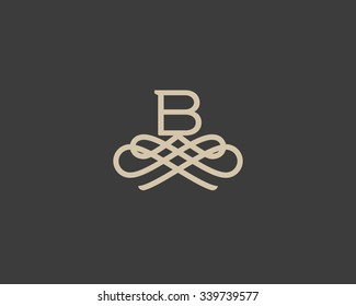Abstract monogram elegant flower logo icon vector design. Universal creative premium letter B initials ornate signature symbol. Graceful vector sign.