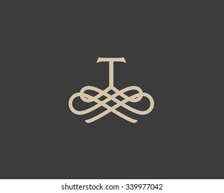 Abstract monogram elegant flower logo icon vector design. Universal creative premium letter T initials ornate signature symbol. Graceful vector sign.