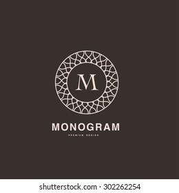 Abstract monogram elegant logo design template. Graceful line art icon. Vector illustration.