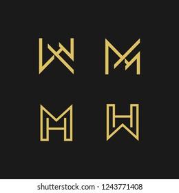 Abstract monogram elegant logo icon vector design. Universal creative premium letters MH initials signature symbol. Vector sign.