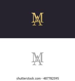 Abstract monogram elegant logo icon vector design. Universal creative premium letters AM initials signature symbol. Vector sign.