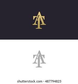 Abstract monogram elegant logo icon vector design. Universal creative premium letters AT initials signature symbol. Vector sign.