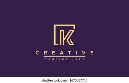 Abstract Monogram letter K Logo icon design concept. Minimalist k kk creative initial based Vector template. Graphic Alphabet Symbol for Corporate Business Company Identity