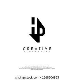 abstract monogram in the shadow, HP logo letters design concept