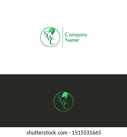Abstract monogram SWC in a round frame with leaves. Vector green rings. Template for eco logo.