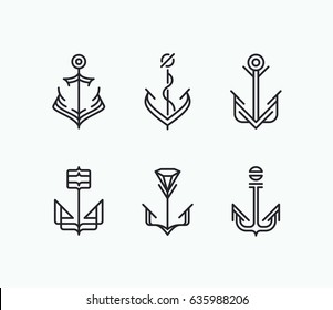 Abstract monoline geometry anchor symbols' set. Nautical icons' collection.