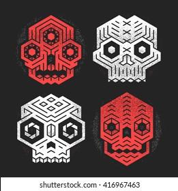 Abstract monster skulls sign designs. Cool dead head vector illustration. Unusual geometric vector cranium t-shirt print set. Grunge texture weathered paint effect. Evil tiki gods tribal illustration.