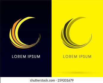 Abstract  Moon, building logo, designed using line curve, logo, symbol, icon, graphic, vector.