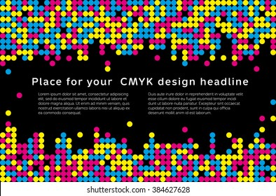 Abstract mosaic background from CMYK colors with place for text - print concept. Vector illustration.