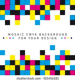 Abstract mosaic background from CMYK colors on white background with place for text - print concept. Vector illustration.