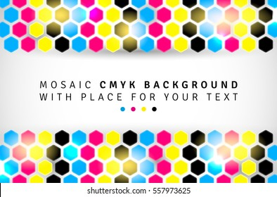 Abstract mosaic background from CMYK hexagons with place for text - print concept. Vector illustration.