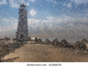 Abstract mosaic lighthouse.Mosaic background. Abstract nature backdrop. Oil painting simulation with mosaic elements.