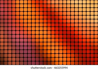 Abstract mosaic orange background with square tiles over black, horizontal format.