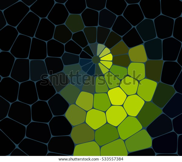 Abstract mosaic pattern consisting of geometric elements of different sizes and colors. Vector illustration. Yellow, blue, green colors