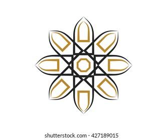 Abstract Mosque Logo Symbol - Black Islamic Door