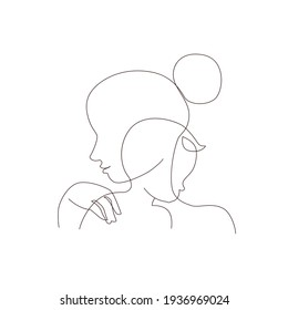 Abstract mother with a child in continuous one line drawing art style. Mother`s Day card. Woman hugging her baby. Happy motherhood concept. Modern vector illustration