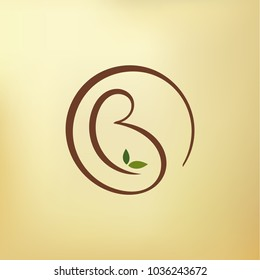 Abstract Motherhood logo. Letter 'B' as pregnant women. Vector image.