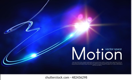 Abstract Motion Light Background. Magic Neon Light. Shining Laser Line Space. Colorful Waves. Vector illustration
