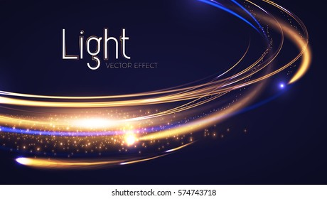 Abstract Motion Light Effect. Futuristic Wave Flash. Shining Space. Vector illustration