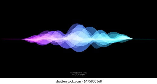 abstract motion sound wave equlizer colorful purple blue green isolated on black background. Vector illustration in concept of sound, voice, music