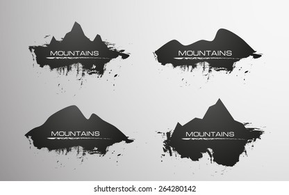 Abstract mountain icons (4 options)
