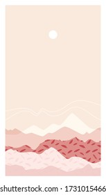 Abstract mountain landscape. Beautiful background, mount scenery. Warm, pastel colors. Trendy, modern template for posters, stories, banners. Elegant design