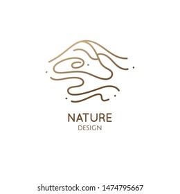 Abstract mountain landscape logo with water. Wavy lines icon. Vector linear illustration of desert dunes. Minimal simple emblem for business, travel, tourism, ecology concept, health, massage, yoga