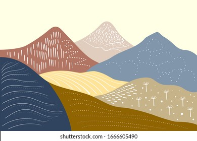 Abstract mountain landscape. Modern template with geometric patterns. Mountain layout in a minimalist style. Vector background with place for text. graphic style.