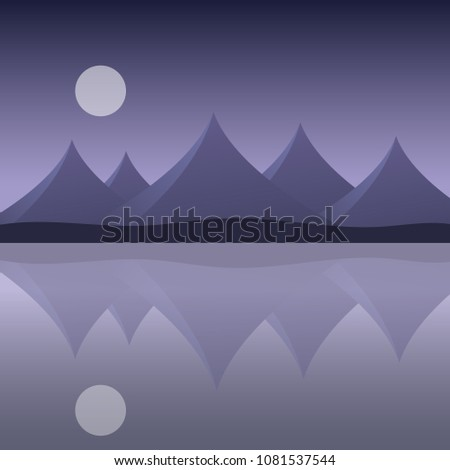 Abstract Mountain Landscape On Sea Shore Stock Vector