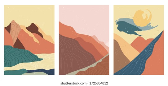 Abstract mountain landscape poster. Geometric landscape background in asian japanese style. vector illustration