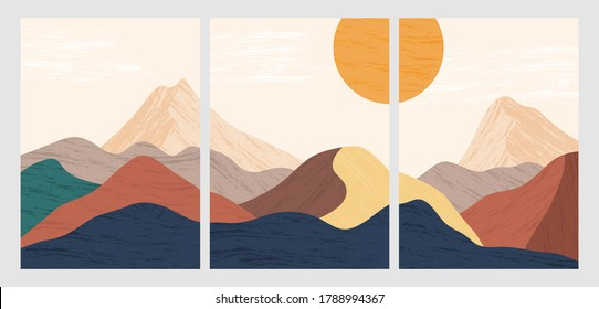 Abstract mountain landscape poster. Geometric landscape background in scandinavian style. vector illustration