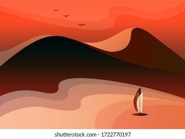 Abstract mountain landscape with sunrise and sailboat on the water. Beautiful vector background. Warm, hot brown colors. Trendy, modern template, elegant design
